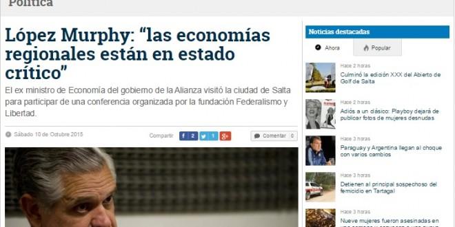 Entrevista de La Gaceta de Salta a Ricardo López Murphy