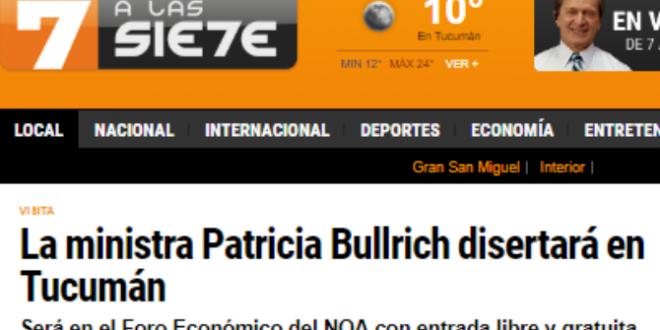 """""""La ministra Patricia Bullrich disertará en Tucumán"""""""
