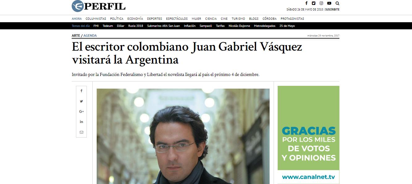 El escritor colombiano Juan Gabriel Vásquez visitará la Argentina