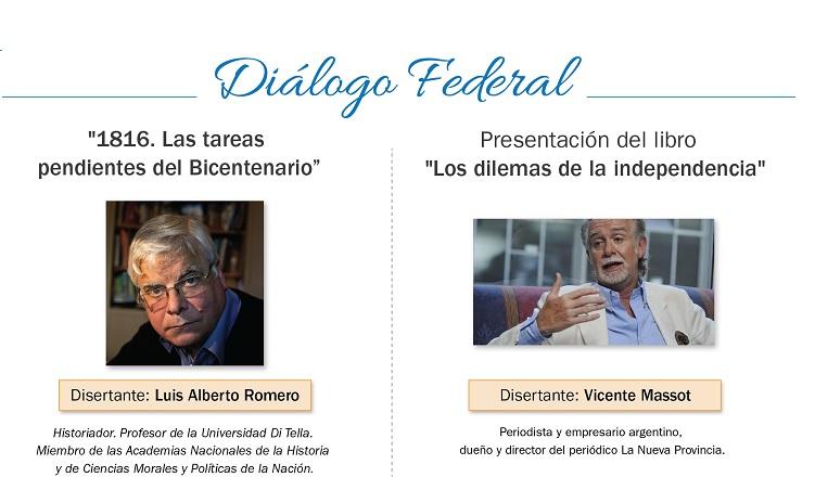 Luis Alberto Romero y Vicente Massot en la 6ª edición de Dialogo Federal 2016