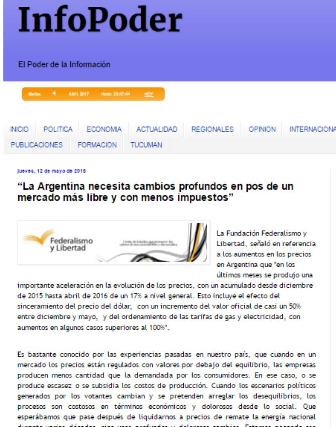 """""""La Argentina necesita cambios profundos en pos de un mercado más libre y con menos impuestos"""""""