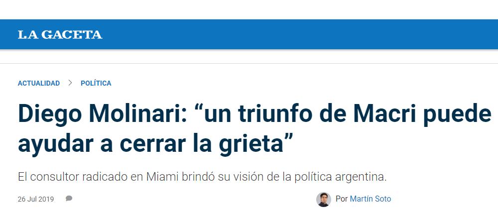 """Diego Molinari en La Gaceta: """"un triunfo de Macri puede ayudar a cerrar la grieta"""""""