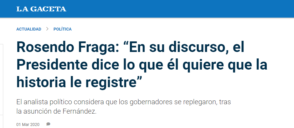 """Rosendo Fraga en La Gaceta: """"En su discurso, el Presidente dice lo que él quiere que la historia le registre"""""""